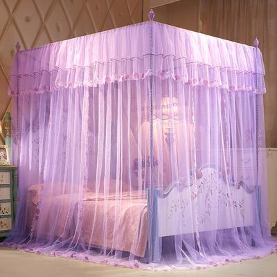 2019新款豪华宫廷式拖地蚊帐皇家花园 180*220*200 紫色支架16mm*25mm