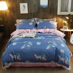 2019新款 韩版蕾丝针织棉四件套 1.5m(5英尺)床 斑马乐园