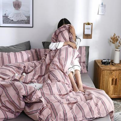 2019新款13372民宿风 山舍系列全棉四件套 48*74cm枕套一对 小半-粉