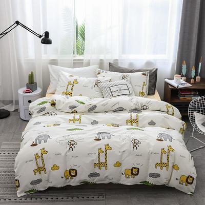 2019新款北欧全棉印花趣味童年系列1四件套 48*74枕套一对 欢乐家园