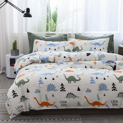 2019新款北欧全棉印花趣味童年系列1四件套 48*74枕套一对 恐龙家族