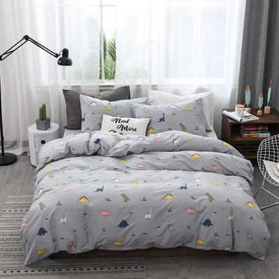 2019新款北欧全棉印花趣味童年系列1四件套 48*74枕套一对 恐龙派对