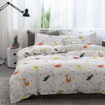 2019新款北欧全棉印花趣味童年系列1四件套 48*74枕套一对 恐龙王国