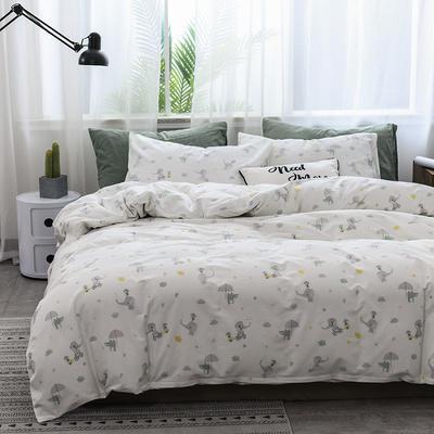 2019新款北欧全棉印花趣味童年系列1四件套 48*74枕套一对 小飞象