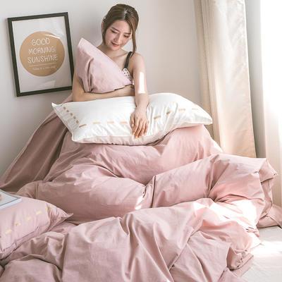 日系慢生活系列纯棉水洗棉单被套 155X210CM 粉白