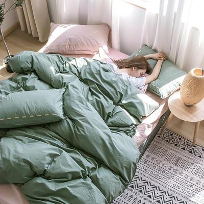 日系慢生活系列纯棉水洗棉单被套 155X210CM 墨绿粉