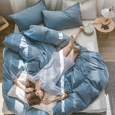 日系慢生活系列纯棉水洗棉单被套 155X210CM 浅蓝 白