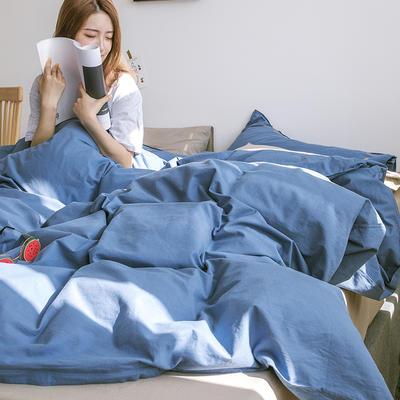 日系慢生活系列纯棉水洗棉单被套 155X210CM 深蓝卡其