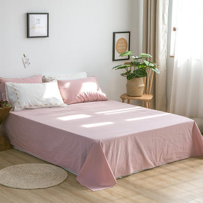 日系慢生活系列纯棉水洗棉单床单 180cmx230cm 白粉色
