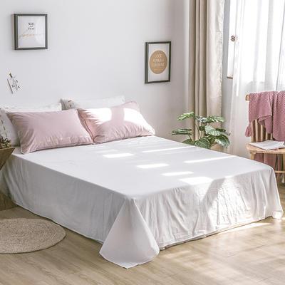 日系慢生活系列纯棉水洗棉单床单 180cmx230cm 粉白