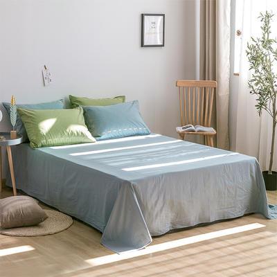 日系慢生活系列纯棉水洗棉单床单 180cmx230cm 果绿浅蓝