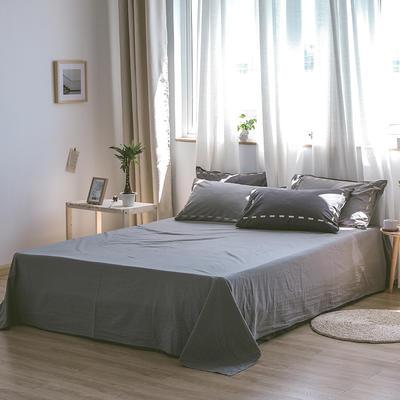 日系慢生活系列纯棉水洗棉单床单 180cmx230cm 黑灰