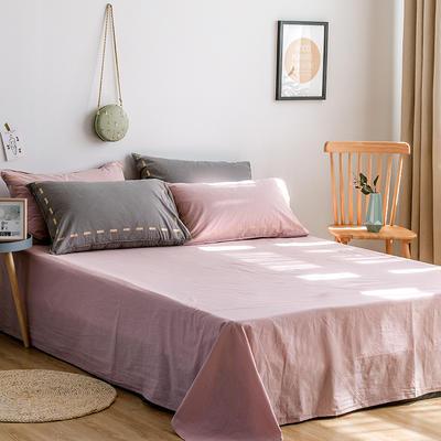 日系慢生活系列纯棉水洗棉单床单 180cmx230cm 灰粉