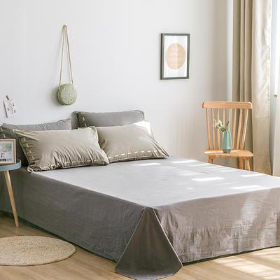 日系慢生活系列纯棉水洗棉单床单 180cmx230cm 卡其灰
