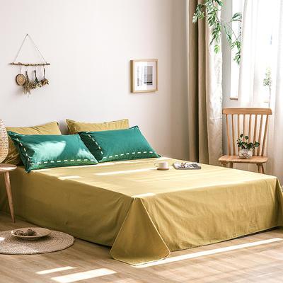 日系慢生活系列纯棉水洗棉单床单 180cmx230cm 绿姜黄