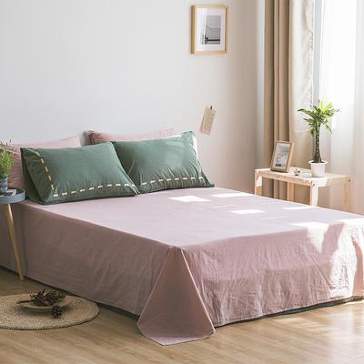 日系慢生活系列纯棉水洗棉单床单 180cmx230cm 墨绿粉