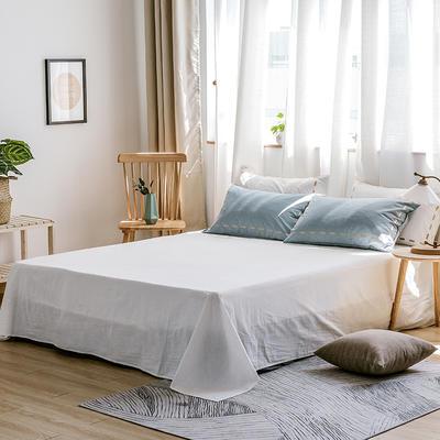 日系慢生活系列纯棉水洗棉单床单 180cmx230cm 浅蓝 白