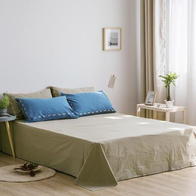 日系慢生活系列纯棉水洗棉单床单 180cmx230cm 深蓝卡其