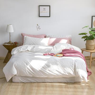 日系慢生活系列纯棉水洗棉四件套 1.8m床单款四件套 白粉色