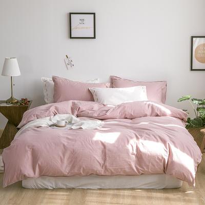 日系慢生活系列纯棉水洗棉四件套 1.8m床单款四件套 粉白