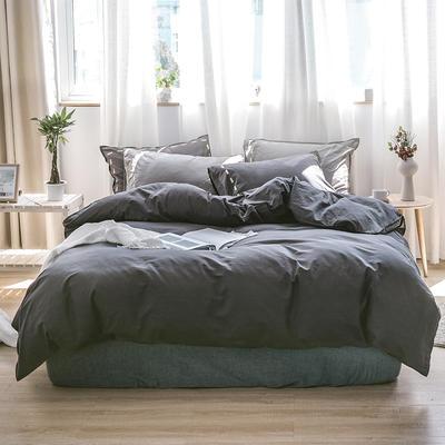 日系慢生活系列纯棉水洗棉四件套 1.8m床单款四件套 黑灰