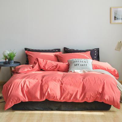 日系慢生活系列纯棉水洗棉四件套 1.8m床单款四件套 红黑