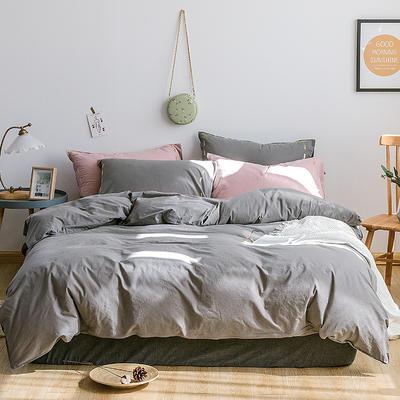 日系慢生活系列纯棉水洗棉四件套 1.8m床单款四件套 灰粉