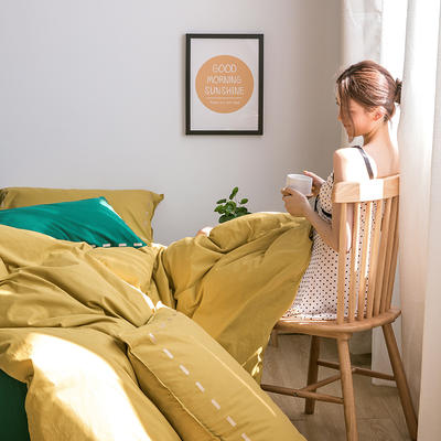 日系慢生活系列纯棉水洗棉四件套 1.8m床单款四件套 姜黄绿
