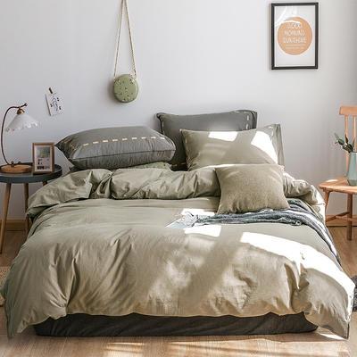 日系慢生活系列纯棉水洗棉四件套 1.8m床单款四件套 卡其灰