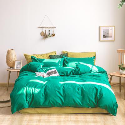 日系慢生活系列纯棉水洗棉四件套 1.8m床单款四件套 绿姜黄