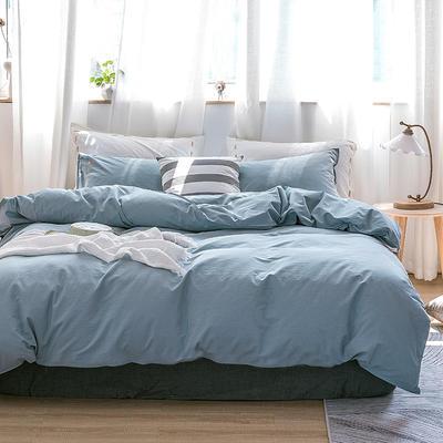 日系慢生活系列纯棉水洗棉四件套 1.8m床单款四件套 浅蓝 白