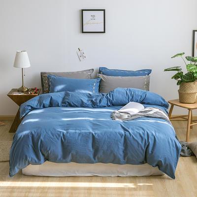 日系慢生活系列纯棉水洗棉四件套 1.8m床单款四件套 深蓝卡其