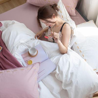 日系慢生活系列纯棉水洗棉单床笠 120cmx200cm 白粉色