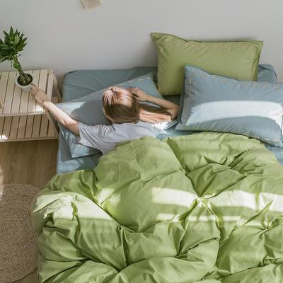 日系慢生活系列纯棉水洗棉单床笠 120cmx200cm 果绿浅蓝
