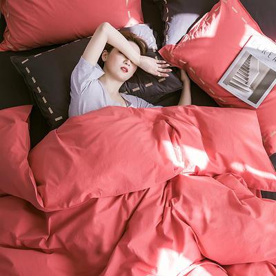 日系慢生活系列纯棉水洗棉单床笠 120cmx200cm 红黑