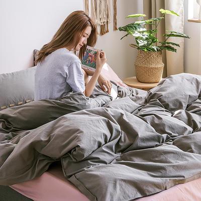 日系慢生活系列纯棉水洗棉单床笠 120cmx200cm 灰粉