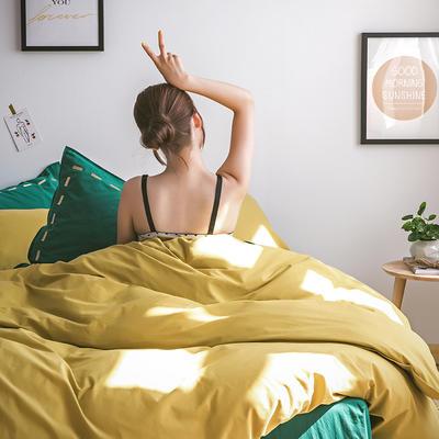 日系慢生活系列纯棉水洗棉单床笠 120cmx200cm 姜黄绿