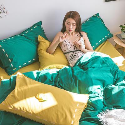 日系慢生活系列纯棉水洗棉单床笠 120cmx200cm 绿姜黄