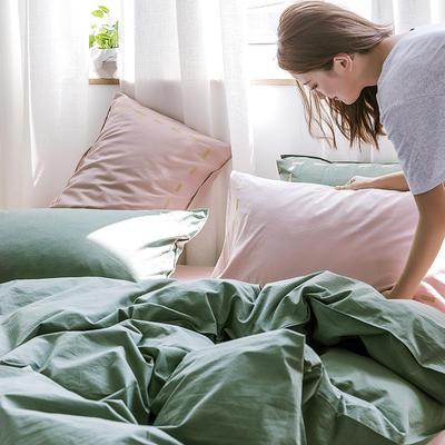 日系慢生活系列纯棉水洗棉单床笠 120cmx200cm 墨绿粉