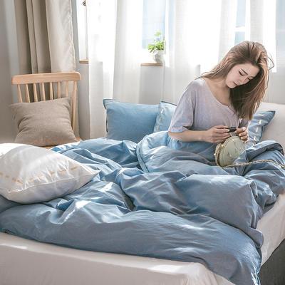 日系慢生活系列纯棉水洗棉单床笠 120cmx200cm 浅蓝 白