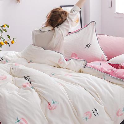 2019年牛奶绒四件套冬天保暖被套绒床单冬季绒套件 1.5m-1.8m床单款 草莓吟