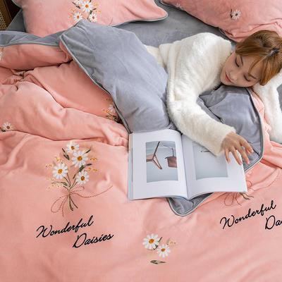 2019年牛奶绒四件套冬天保暖被套绒床单冬季绒套件 1.5m-1.8m床单款 雏菊粉