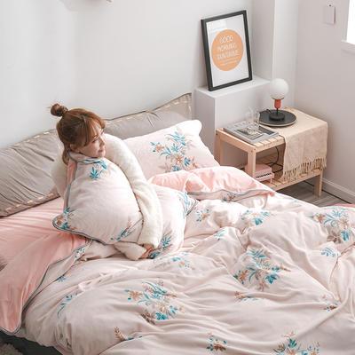 2019年牛奶绒四件套冬天保暖被套绒床单冬季绒套件 1.5m-1.8m床单款 花漾