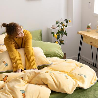 2019年牛奶绒四件套冬天保暖被套绒床单冬季绒套件 1.5m-1.8m床单款 萝卜黄