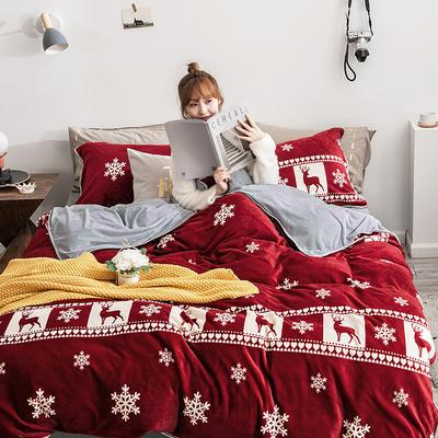 2019年牛奶绒四件套冬天保暖被套绒床单冬季绒套件 1.5m-1.8m床单款 麋鹿