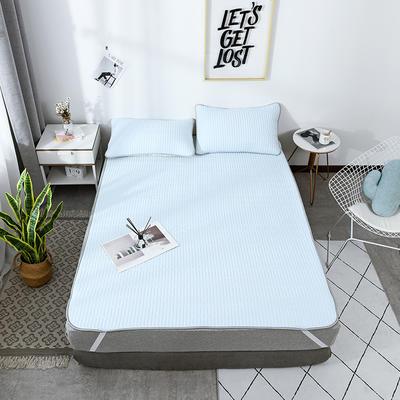 2019新款棉麻乳胶凉席套件 1.5m(5英尺)床 蓝色