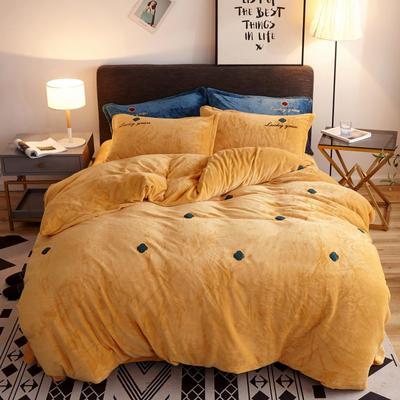 2019新款牛奶绒四件套 1.5m(床单款四件套) 四叶草-暖黄色
