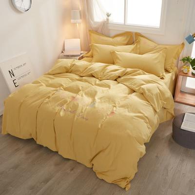 2019新款加厚全棉生态磨毛四件套 1.5m(床单款四件套) 菠萝派-暖黄色