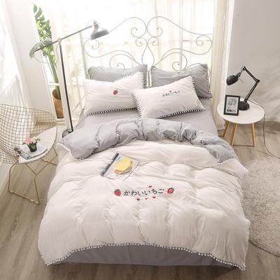 北欧水洗棉球球边四件套 1.5m(5英尺)床 白灰色