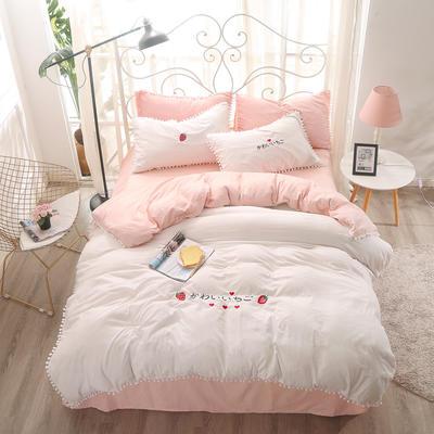 北欧水洗棉球球边四件套 1.5m(5英尺)床 粉白色